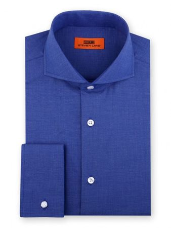 Steven Land Shirt Mens Royal Blue Taper Collar French Cuff DC60 - click to enlarge