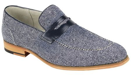 Giovanni Mens Blue Tweed Loafer Dress Shoes Ike