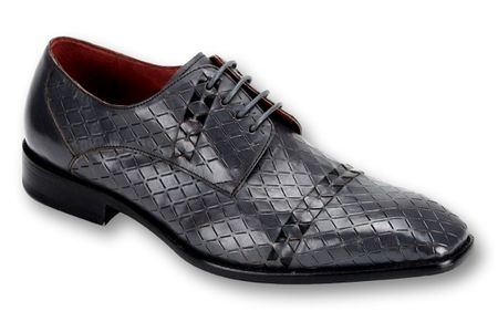 Steven Land Grey/Black Woven Leather Dress Shoes SL0013 IS - click to enlarge
