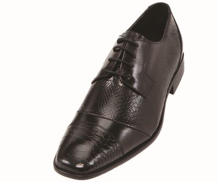 Steven Land Black Snake Cap Toe Leather Dress Shoes SL9715 IS