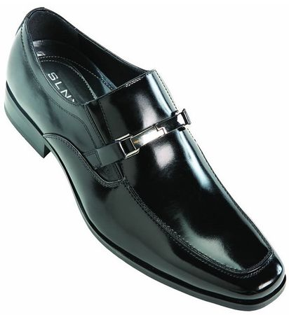 Steven Land Black  Leather Slip On Shoes SLNY501 IS