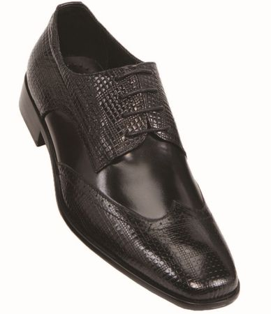 Steven Land Black Wingtip Patch Leather Dress Shoes SL9080 IS