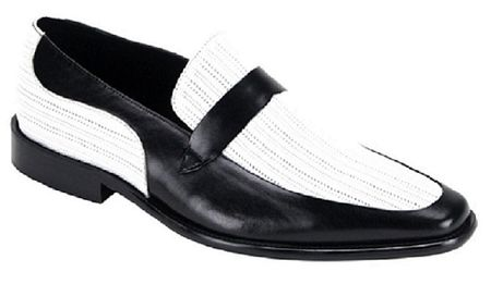 Steven Land Dress Shoes Black/White Leather Loafer SL0011 - click to enlarge