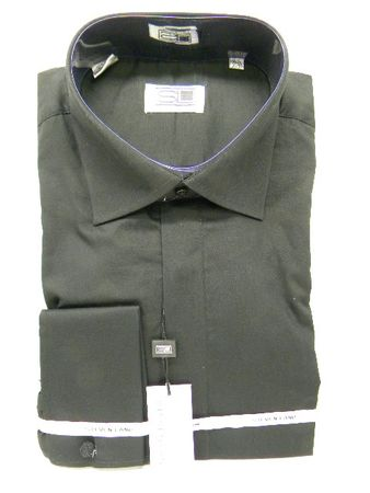 Steven Land Mens Black  Cotton French Cuff Dress Shirt DS515 - click to enlarge