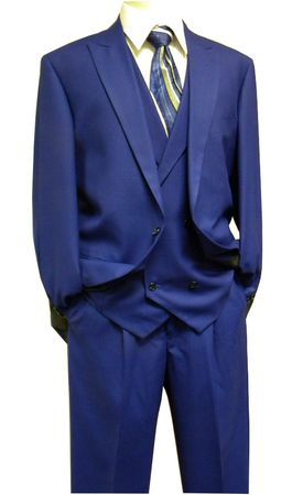 Steven Land Mens Bright Blue Plaid DB Vest Suit Walter SL77-421 IS
