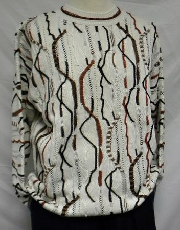 Steven Land Mens Ivory Brown Multi Color Pure Cotton Sweater 120 - click to enlarge