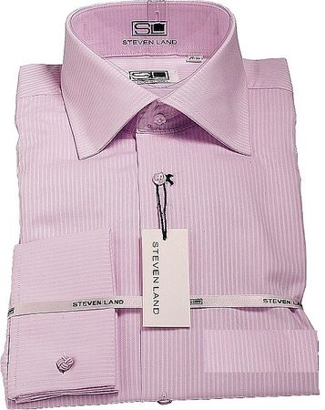 Steven Land  Mens Lavender 100% Cotton Pointed Collar Dress Shirt DS621 - click to enlarge
