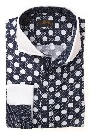 Steven Land Mens Navy Big Polka Dot Cotton Shirt DS1245 - click to enlarge