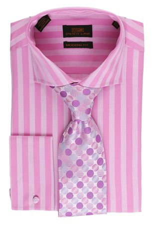 Steven Land Mens Pink Stripe Cotton French Cuff Shirt DM1580 - click to enlarge