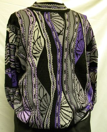 Steven Land Mens Purple Grey Multi Color Cotton Sweater 127
