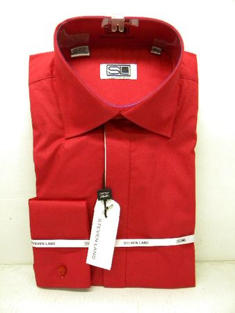 Steven Land Mens Red  100% Cotton French Cuff Dress Shirt DS515