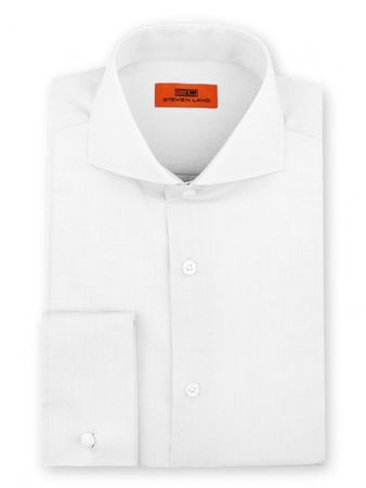 Steven Land Shirt Mens White Taper Collar French Cuff DC60 - click to enlarge