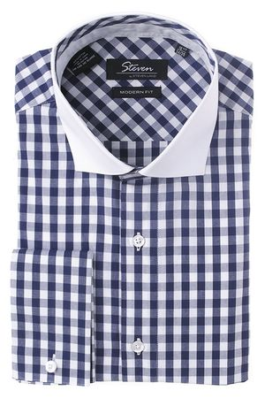 Steven Land Mens Navy Square Cotton Dress Shirt DC16WF - click to enlarge