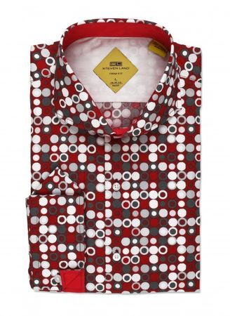 Steven Land Red Black Dot Slim Fit Fashion Shirt TS536 - click to enlarge