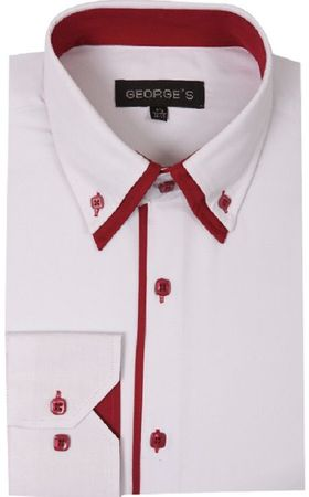 George Mens Fashion Shirts White Red Trim AH618  Size 17.5 34/35 Final Sale - click to enlarge