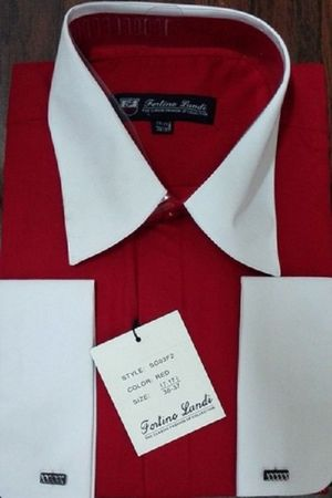 Fortino Men's Riley Collar Two Tone Dress Shirt Red White SG03F2 Size 17.5 36/37 Final Sale  - click to enlarge