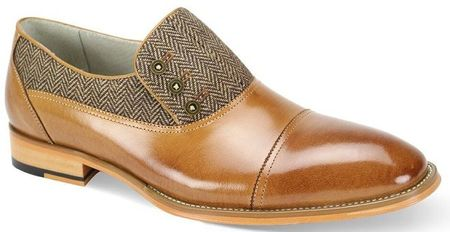 Giovanni Mens Tan Tweed Leather 3 Button Cap Toe Laceless Shoes Gino