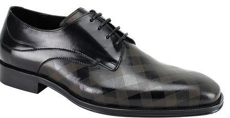 Steven Land Shoes Black Checker Pattern Leather Lace Up SL0038 - click to enlarge