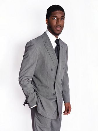 Steven Land Suit Men's Double Breasted Grey Nailshead Paolo SL77-480 - click to enlarge