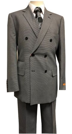 Steven Land Suit Men's Double Breasted Grey Nailshead Paolo SL77-480 IS