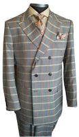 Steven Land Suit Mens Gray Peach Plaid Double Breasted Aldo SL77-500