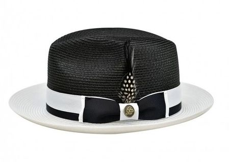 a6a8f61007533e Steven Land Summer Hat Mens Black White Straw Fedora SLSG-570
