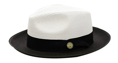 Summer Fedora Hat for Men White Black Two Tone Straw SA-800