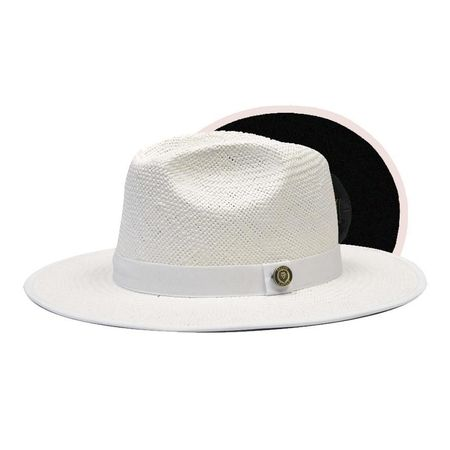Men's Flat Brim Straw Fedora Hat White Black Bottom KI-504