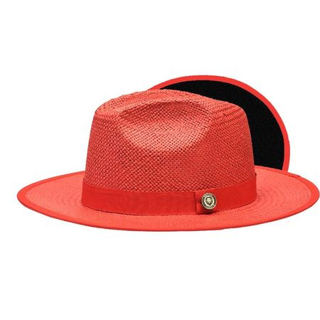 Men's Red Black Bottom Flat Brim Straw Fedora Hat KI-500