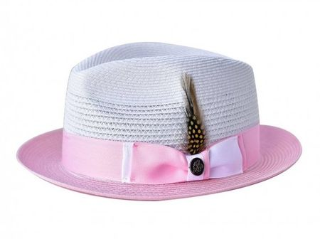 a11390e0f376e1 Steven Land Summer Hat Mens White Pink Straw Fedora SLMS-561