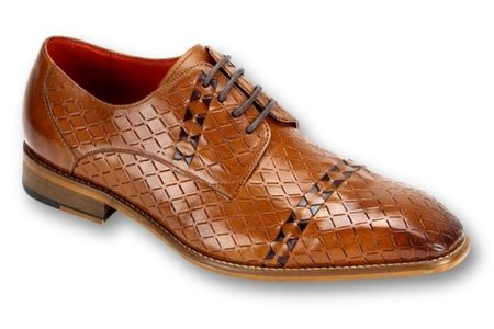 Steven Land Tan Woven Leather Dress Shoes SL0013 IS