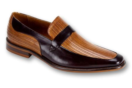 Steven Land Tan Burgundy Leather Slip On Dress Shoes SL0011 IS