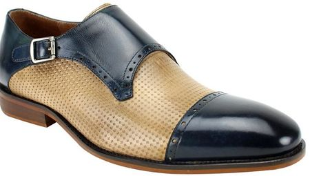 Steven Land Blue/Latte Strap Cap Toe Dress Shoe SL0041 Size 10 Final Sale - click to enlarge