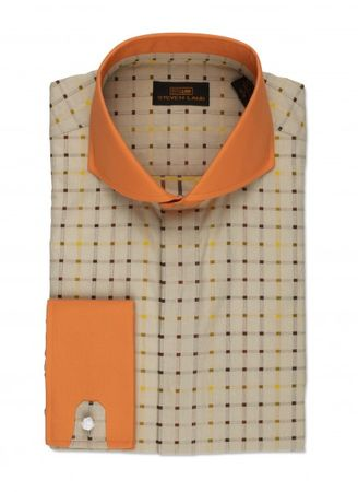 Steven Land Tan Plaid Spread Collar Cotton Shirt DW510 - click to enlarge