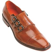 Steven Land Tan 3 Buckle Leather Dress Shoes SL308 IS