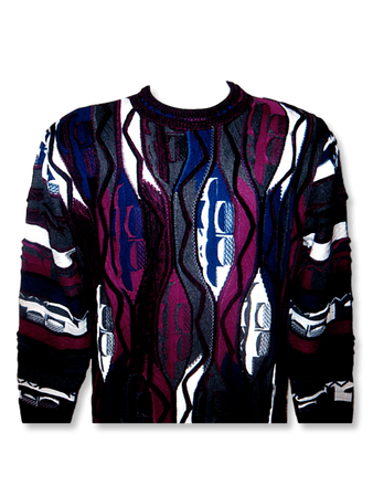 Stevenland Fancy Cotton Sweaters Mens Berry Color SL130 - click to enlarge
