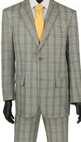 Stylish Mens Suits by Vinci Gray Bold Plaid Flat Front 2RW-5