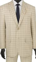 Stylish Mens Suits by Vinci Summer Beige Plaid Flat Front 2RW-5