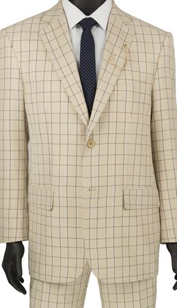 Stylish Mens Suits by Vinci Summer Beige Plaid Flat Front 2RW-5 - click to enlarge