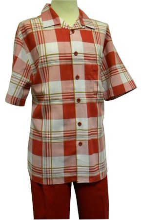 Cellangino Mens Red Plaid Linen Rayon Walking Suit LN821SP Size 4XL/48