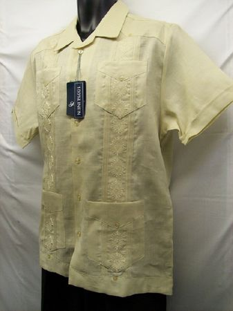 Successo Mens Beige Linen Guayavera Shirt Mexican Wedding Shirt S5432 Size S - click to enlarge