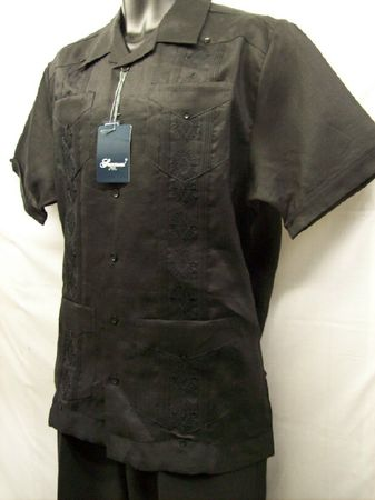 Successo Mens Black Linen Guayavera Shirt Mexican Wedding Shirt S5432