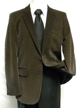 Successo Mens Brown Hounds Tooth Velvet Jacket 6083 - click to enlarge