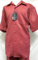 Successo Mens Burgundy Linen Casual Walking Suit 1065