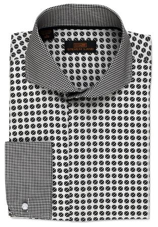 Steven Land White Dot Pattern Collar Cotton Dress Shirt DA523 - click to enlarge