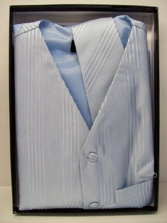 Mens Tuxedo Vest Tie Set Light Blue Satin 2541