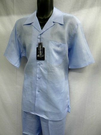 Successo Mens Sky Blue Linen Short Set 1065S Size S/30 - click to enlarge