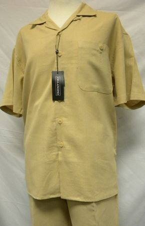 Cellangino Silk Touch Mens Linen Outfits Khaki LN11