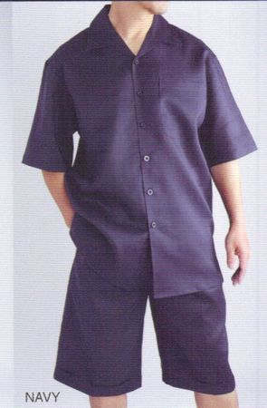 Successo Mens Navy Blue Linen Short Set 1065S - click to enlarge