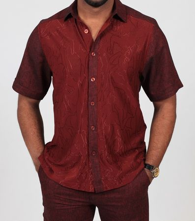 Prestige Dark Red Knit Front Linen Casual Outfit LUX-658 - click to enlarge